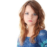 Teen girl in blue dress Royalty Free Stock Images