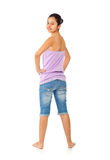 Teen girl with blue jeans and tank top Royalty Free Stock Photography
