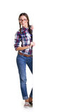 Teen girl with board Royalty Free Stock Images