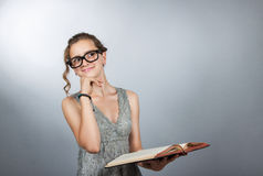Teen girl with book Stock Photo