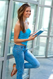 Teen girl with book outside Royalty Free Stock Photos