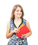 Teen girl with books. Long-haired teen girl with books over white Stock Photos