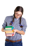 Teen girl  with books Royalty Free Stock Photo