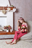 Teen girl with a bouquet of flowers Royalty Free Stock Photography