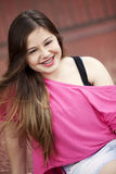 Teen girl with braces royalty free stock photography