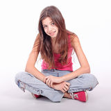 Teen girl with brackets. Beautiful young teen girl with brackets on teeth in white Stock Photos