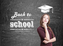 Teen girl with a braid back to school Stock Photos
