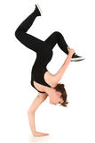 Teen Girl Break Dance Hand Stand Clipping Path. Attractive strong flexible girl teen doing handstand over white with clipping path Stock Photography