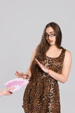 Teen girl and bribe Royalty Free Stock Photo