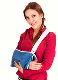 Teen girl with broken arm in a sling Royalty Free Stock Photography