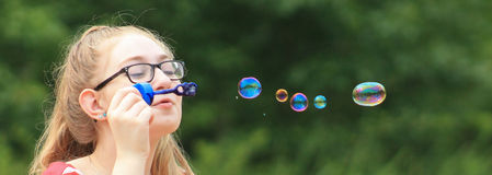 Teen girl-bubble wish 2 Stock Images
