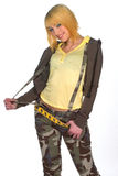 Teen girl in camouflage clothes. Smiling teen girl in camouflage clothes Royalty Free Stock Image