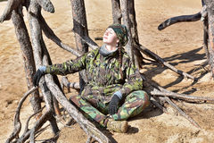 Teen girl in camouflage clothes Royalty Free Stock Image