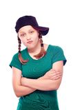 Teen girl in cap posing Royalty Free Stock Photo
