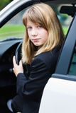 Teen girl in a car Royalty Free Stock Photos