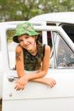 Teen girl in car. Teen girl in white car Stock Photo