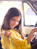 Teen girl in car. For your design Stock Photo
