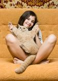 Teen girl with cat Stock Image