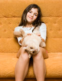 Teen girl with cat Royalty Free Stock Photos