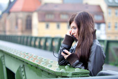 Teen girl with cell phone Stock Images