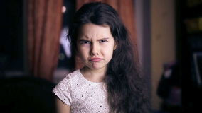 Teen girl child is angry unhappy angry emotions. Teen girl child is angry unhappy  angry emotions six years brunette stock video
