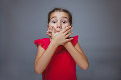 Teen girl child hands covering her mouth feels Royalty Free Stock Photos