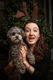 Teen girl Christmas portrait with Dog. Young woman poses for holiday photo in front of Christmas tree with her little dog Royalty Free Stock Photography