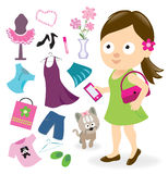 Teen girl with clothes and accessories Stock Image