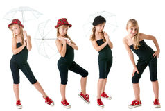 Teen girl in clothes of sports style, in full view. Staged shooting in the studio. Isolation on a white background. Four images in one Stock Image