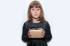 Teen girl with clutch. In hand isolated Royalty Free Stock Image