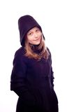 Teen girl in coat posing Royalty Free Stock Photography