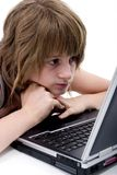 Teen girl with computer Stock Photo