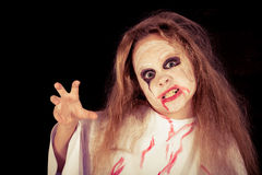 Teen girl in costume zombie. Royalty Free Stock Photography