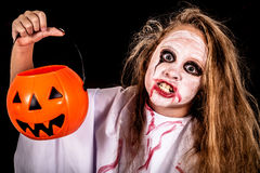 Teen girl in costume  on zombie. Stock Photography