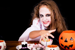 Teen girl in costume zombie. Stock Photos
