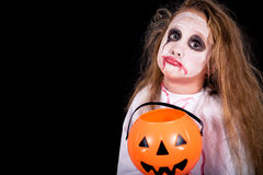 Teen girl in costume zombie. Royalty Free Stock Image