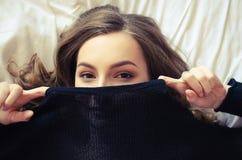 Teen girl covering her face Stock Photos