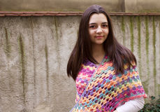 Teen girl with a crochet scarf Royalty Free Stock Photography