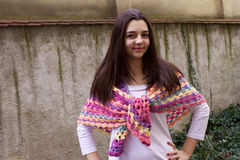 Teen girl with a crochet scarf Stock Image