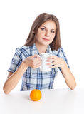 Teen-girl with cup of coffee Royalty Free Stock Photos