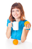 Teen-girl with cup of coffee Royalty Free Stock Images