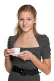Teen girl with a cup of coffee Stock Images