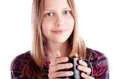 Teen girl with the cup Royalty Free Stock Images
