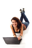 Teen girl cute cheerful studying notebook Stock Images