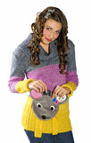 Teen girl with cute purse Stock Photo