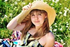 Teen girl in daisies Royalty Free Stock Photos