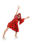 Teen girl dancing in a red polka-dot dress Royalty Free Stock Photos