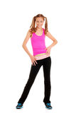 Teen girl dancing zumba workout. Wearing pink top Royalty Free Stock Photo