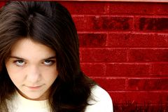 teen girl depressed stock image