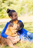 Teen girl with the dog Stock Photos